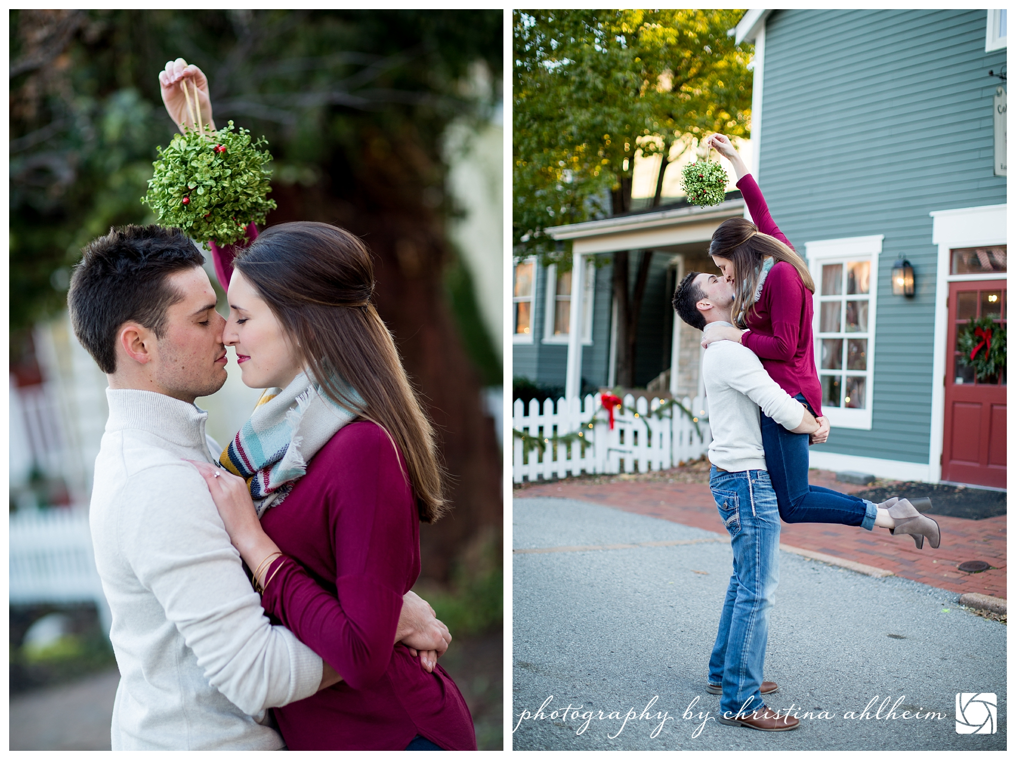 Main Street St. Charles Winter Engagement Photographer